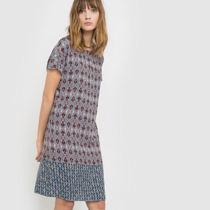 afbeelding Bedrukte rechte jurk met korte mouwen La Redoute Collections