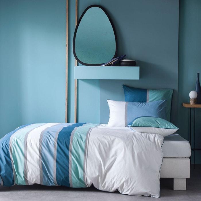 Housse de couette percale 80 fils imprim bayad re bleu acier vert d eau et orage bleu - Housse de couette bleu et blanc ...