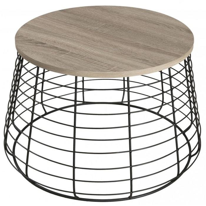 Table basse ronde bois pieds m tal landaise bois pier - Table ronde la redoute ...