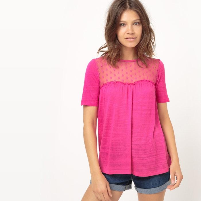 Imagen de Camiseta ligera con pieza de plumetis La Redoute Collections