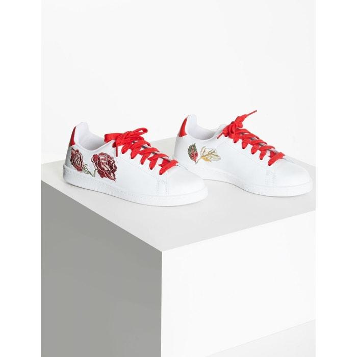 Sneakers brodées en cuir blanc Morgan