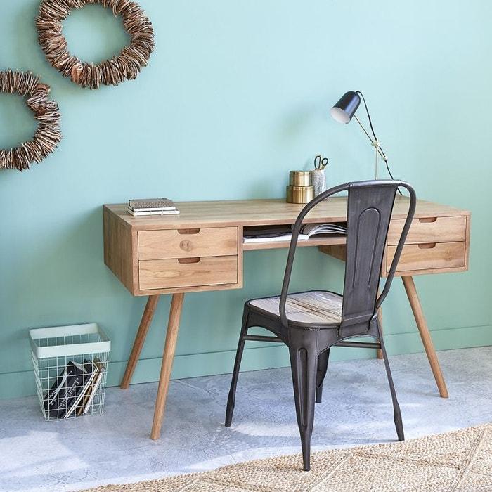 bureau en bois de teck 4 tiroirs teck brut bois dessus. Black Bedroom Furniture Sets. Home Design Ideas