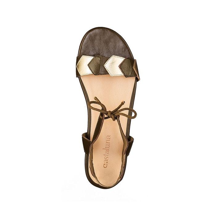 Sandales cuir détail métallisées pied large 38-45 Castaluna