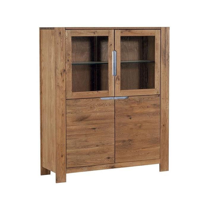 vaisselier ch ne huil et verre 4 portes 121cm valley ch ne huil pier import la redoute. Black Bedroom Furniture Sets. Home Design Ideas