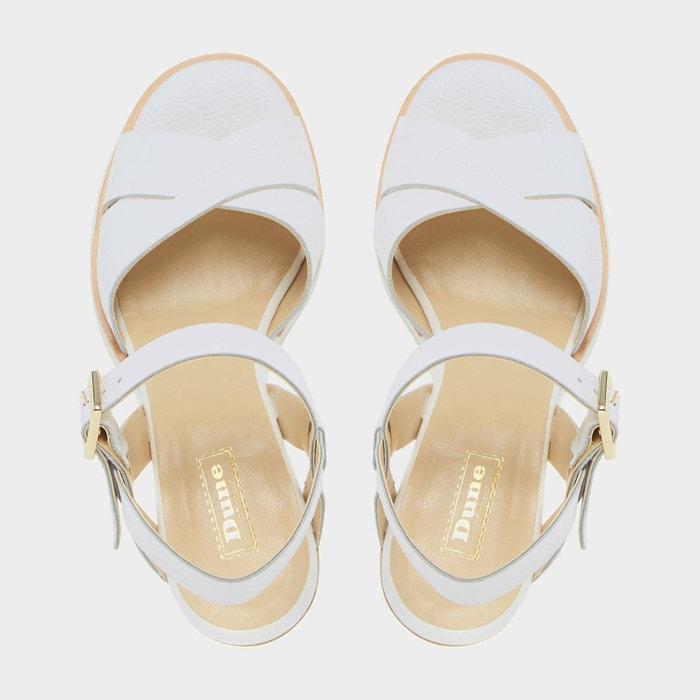 White sole mid heel sandal - judo blanc cuir Dune London