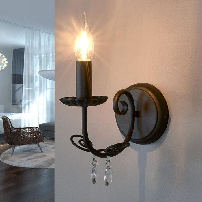 applique sophina en forme de lustre noir transparent lampenwelt la redoute. Black Bedroom Furniture Sets. Home Design Ideas