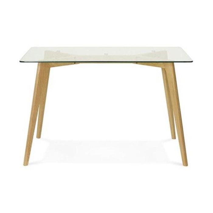 table manger rectangulaire avec plateau en verre pieds bois fiord transparent declikdeco la. Black Bedroom Furniture Sets. Home Design Ideas