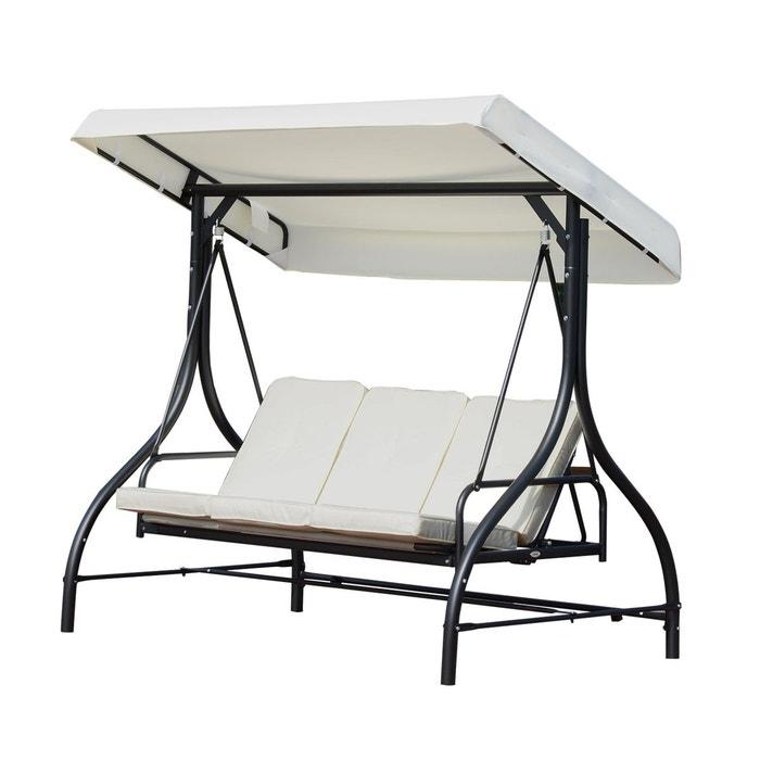 balancelle de jardin 3 places convertible cr me noir beige outsunny la redoute. Black Bedroom Furniture Sets. Home Design Ideas