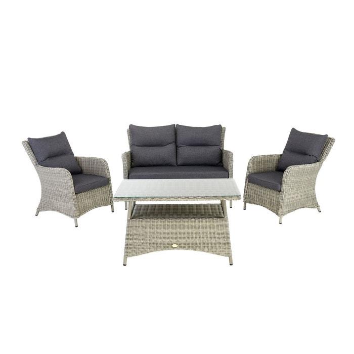 Salon de jardin west en résine gris/ beige Rotin Design | La Redoute