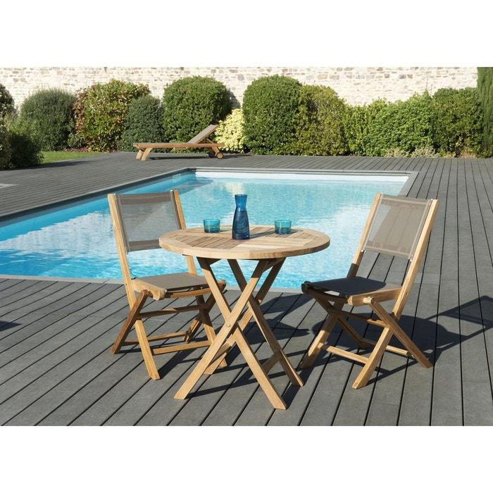 Salon de jardin bois de teck table de jardin pliante ronde 80cm + 2 chaises  pliantes textilène SUMMER