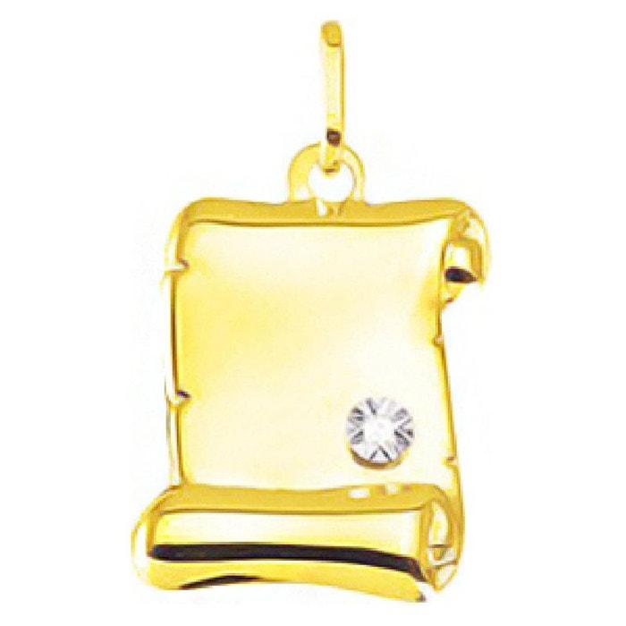 Pendentif parchemin diamant 0,006 ct or jaune 750/000 (18 carats) couleur unique So Chic Bijoux | La Redoute