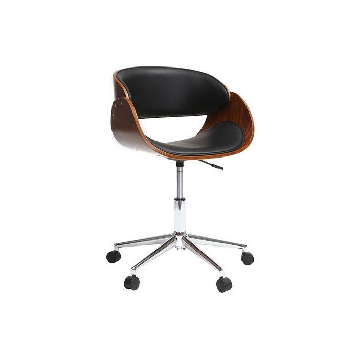 Chaise de bureau à roulettes bent noyer   noir Miliboo   La Redoute 5fa28c406644