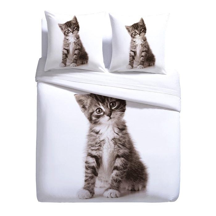 Parure housse de couette et taie leon le chat blanc Tendance Perso   La  Redoute b8ba94a6f895