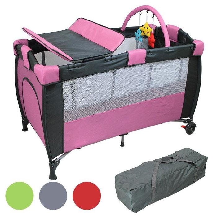 Lit b b parapluie 60 x 120 cm avec matelas plan langer hamac et jouets rose rose monsieur - Lit parapluie monsieur bebe ...