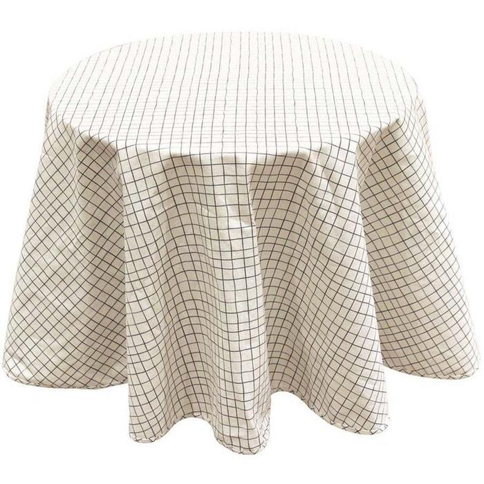 Nappe à motifs pour table ronde 180 cm Quadrillage