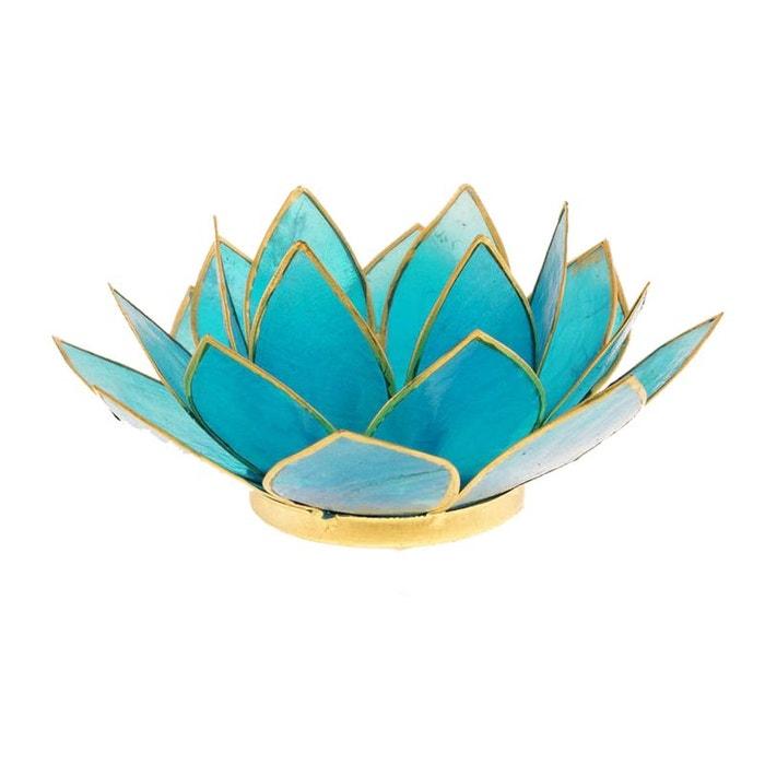 Porte Bougie Fleur De Lotus Bleu Et Or 5 Eme Chakra Cbk La Redoute