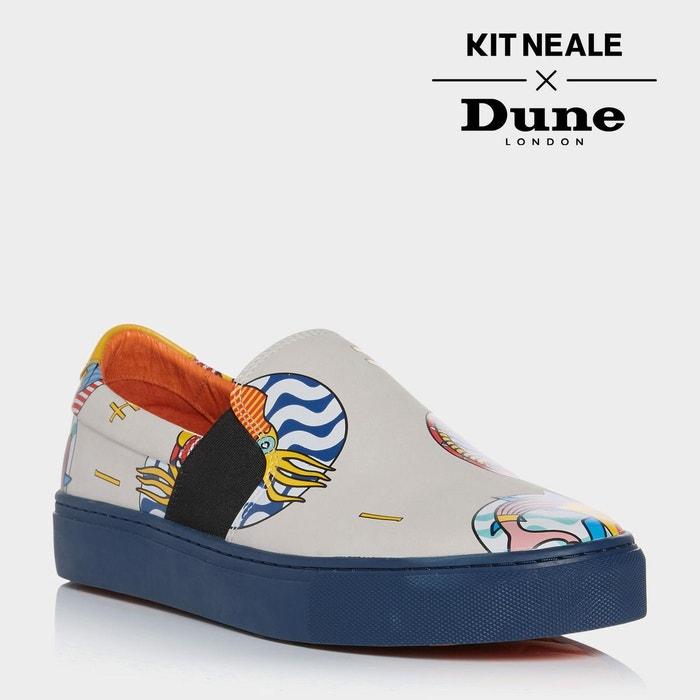 Baskets imprimées à enfiler kit neale - snapper taupe cuir Dune London