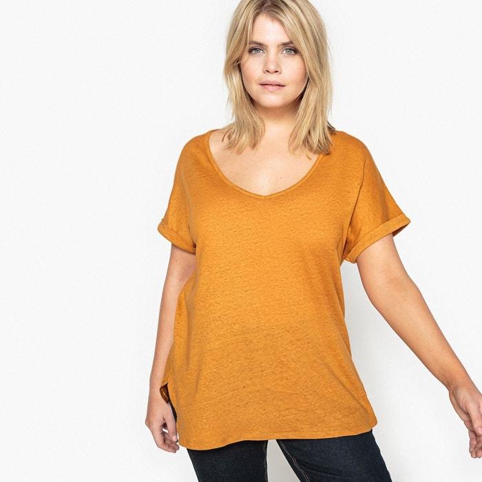 Tee-shirt col V coton/lin  CASTALUNA image 0