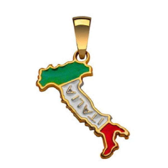 Pendentif carte italie italia emaillé vert blanc rouge plaqué or 750 couleur unique So Chic Bijoux | La Redoute Dernières Collections Lsg5xr
