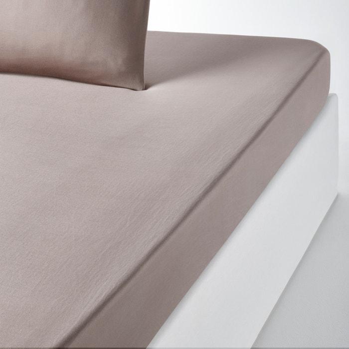 Varèse Plain Washed Satin Fitted Sheet  La Redoute Interieurs image 0