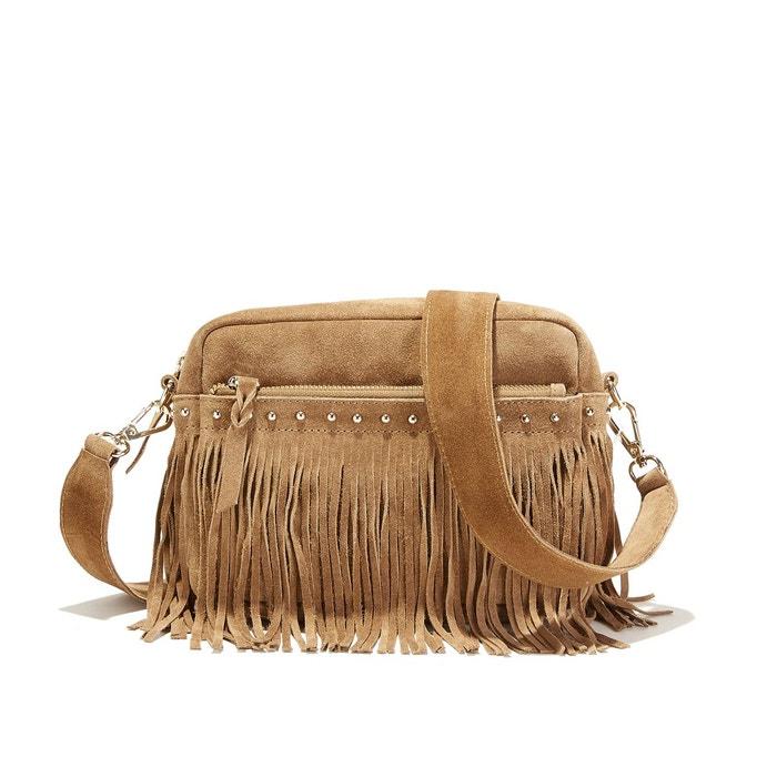 e4d21673f7 Sac à main croûte de cuir avec franges camel La Redoute Collections | La  Redoute