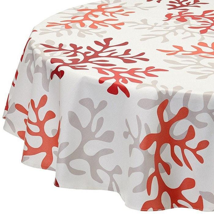 Nappe enduite ronde ou ovale corail fleur de soleil la redoute - Tovaglia per tavolo ovale ...