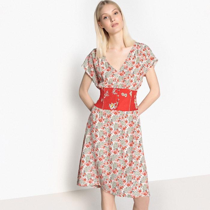 estampado R 233; a cintura evas contraste flores Vestido MADEMOISELLE ngfFpqw7Iq
