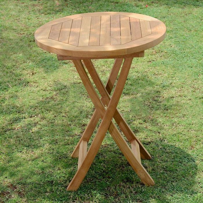 Table de Jardin en Teck Pliable ø 60 cm - Bistrot
