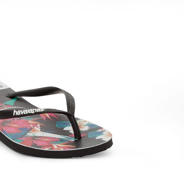 Tong slim tropical floral noir/imprimé Havaianas