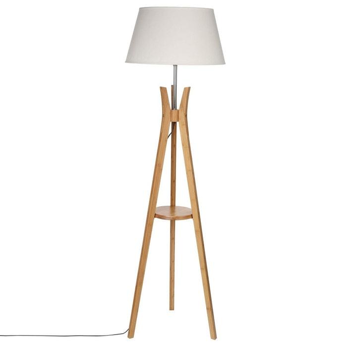 lampadaire tr pied en bambou avec tablette h 156 cm. Black Bedroom Furniture Sets. Home Design Ideas
