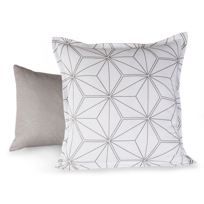 taie d 39 oreiller perseides satin 80fils gris tradition des vosges la redoute. Black Bedroom Furniture Sets. Home Design Ideas