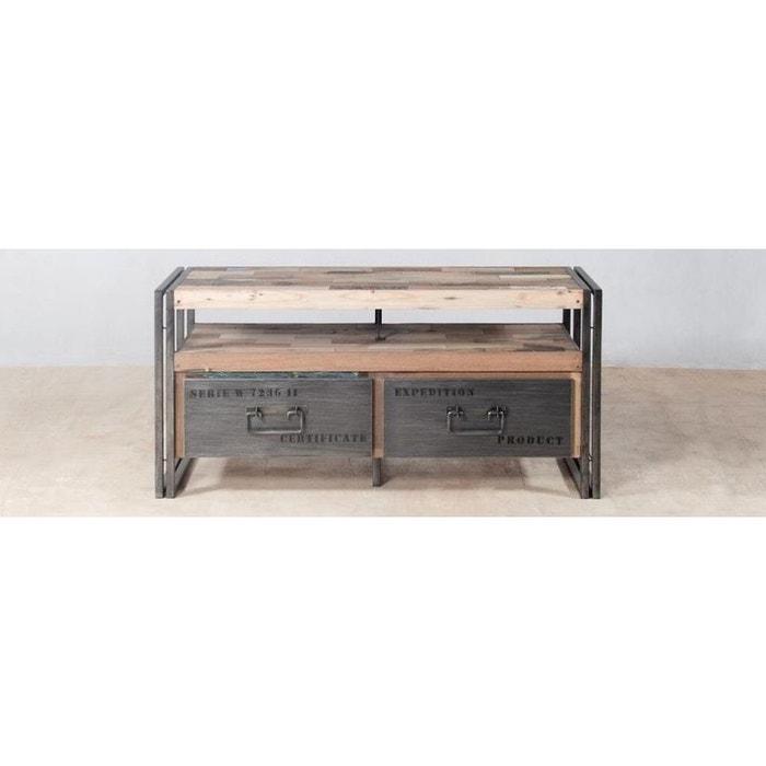 Meuble Tv 112cm Bois Recycle Et Metal 2 Tiroirs 1 Niche Style Industriel Caravelle
