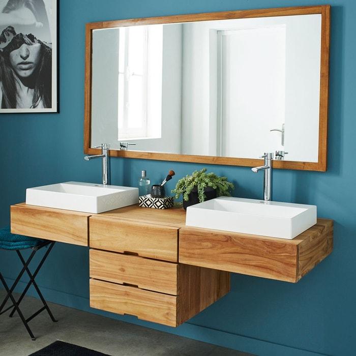 Meuble de salle de bain teck 160 cm bois clair bois dessus for Salle de bain meuble bois clair