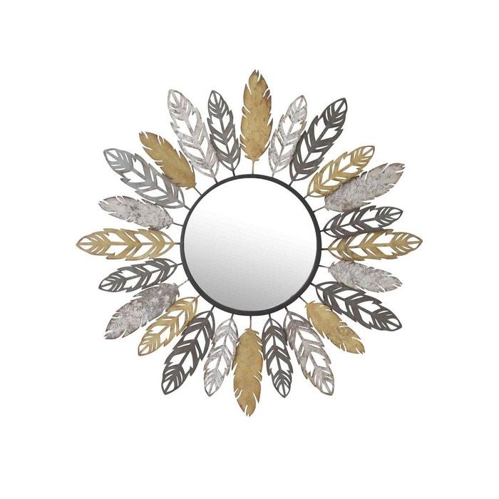 Miroir plumes dor argent et gris multicolore emde premium for Miroir gris argent