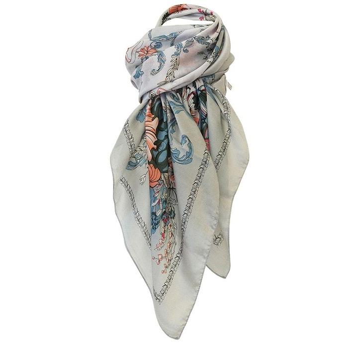 Grand foulard de soie floral gris Chapeau-Tendance   La Redoute 763ba69e580
