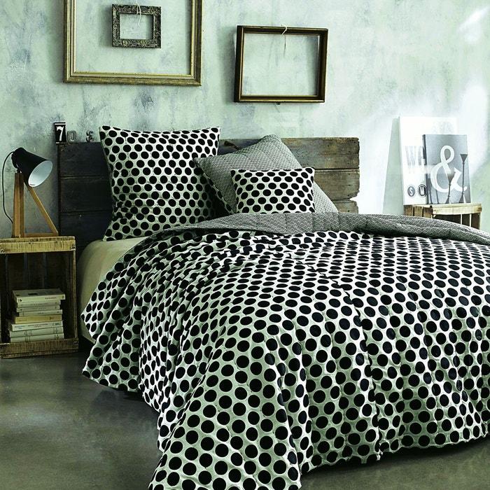 couvre lit matelass pur coton borsa noir beige galet la redoute interieurs la redoute. Black Bedroom Furniture Sets. Home Design Ideas