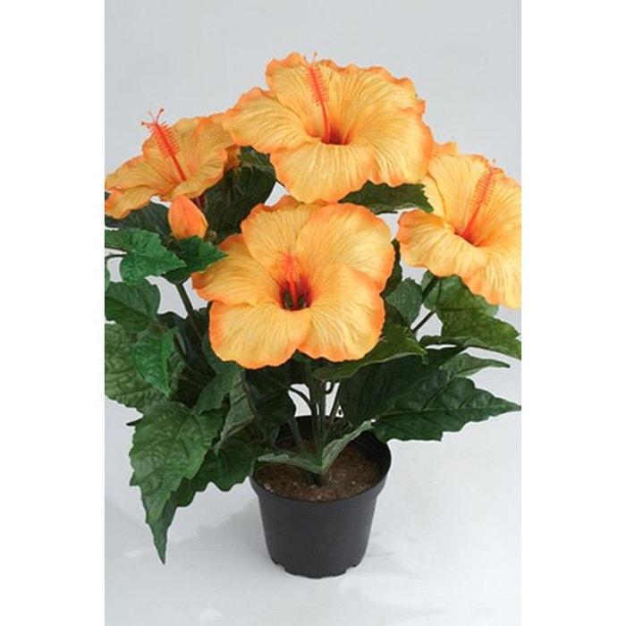 hibiscus artificiel en pot h 38 cm 6 tetes orange safran. Black Bedroom Furniture Sets. Home Design Ideas