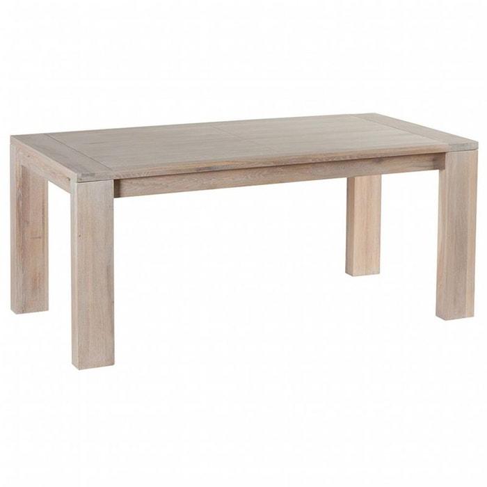 Table de repas ch ne massif cir blanchi 180x90x77cm - Table chene blanchi ...