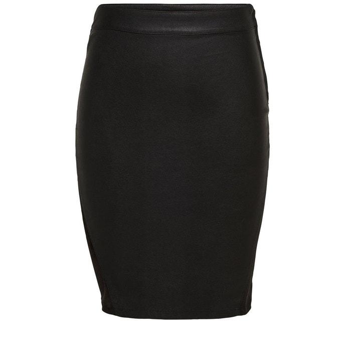 jupe mi longue simili cuir black only la redoute. Black Bedroom Furniture Sets. Home Design Ideas