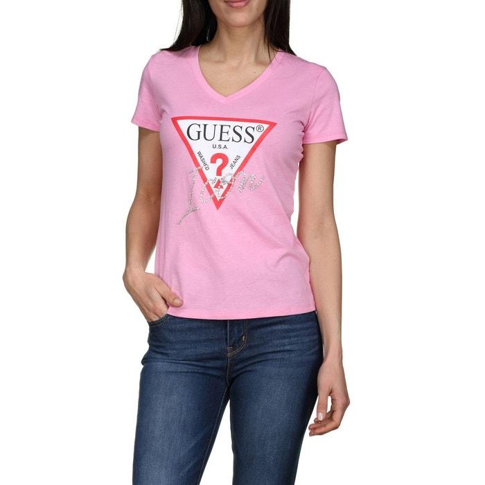 41fe1b35b294 Tee shirt col v rose Guess