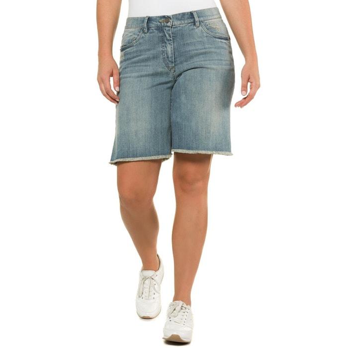 ecc260ff27 Short en jean effet effiloché, mélangé coton bleu denim Ulla Popken | La  Redoute