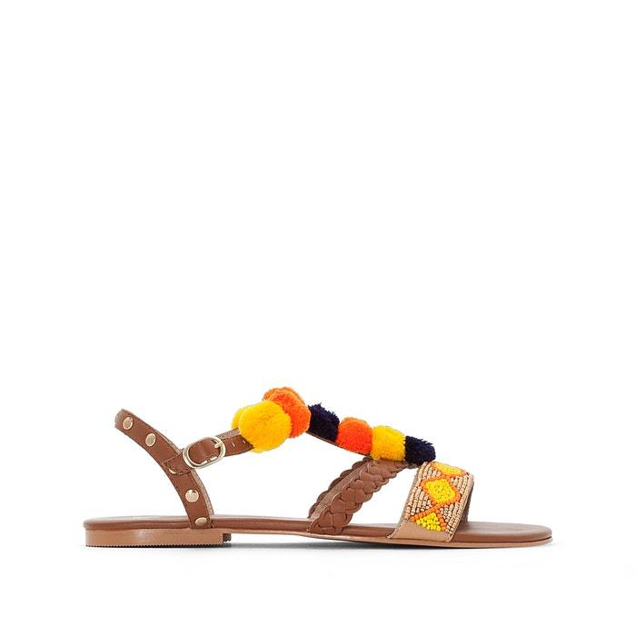 Leren sandalen met pompons  La Redoute Collections image 0