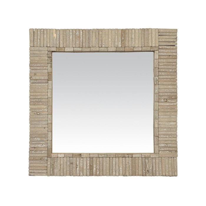 Miroir carr en bois naturel marron clair emde premium for Miroir carre bois