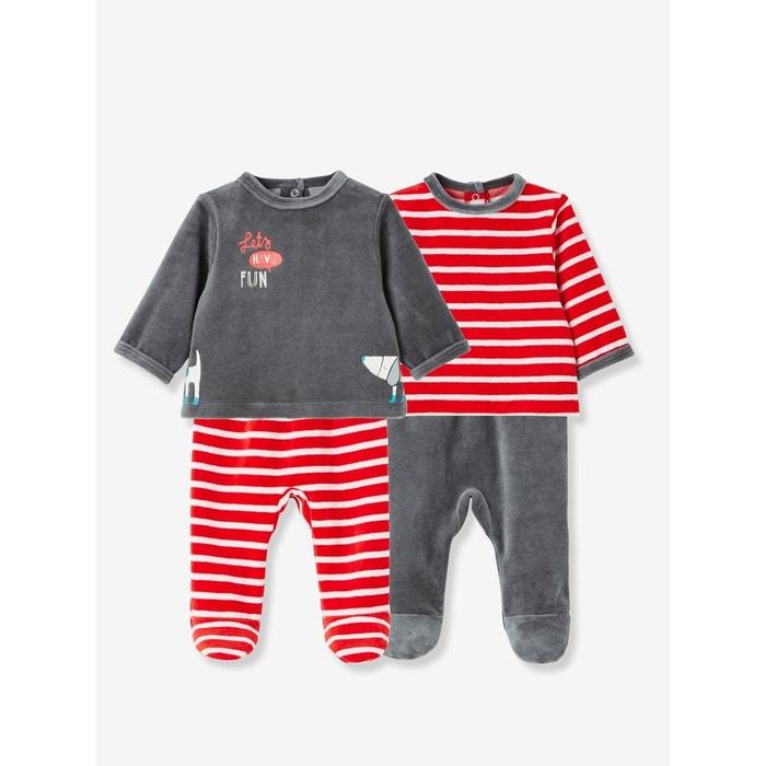 b9276ce7696a7 Lot de 2 dors-bien bébé 2 pièces velours rouge multicolore Vertbaudet