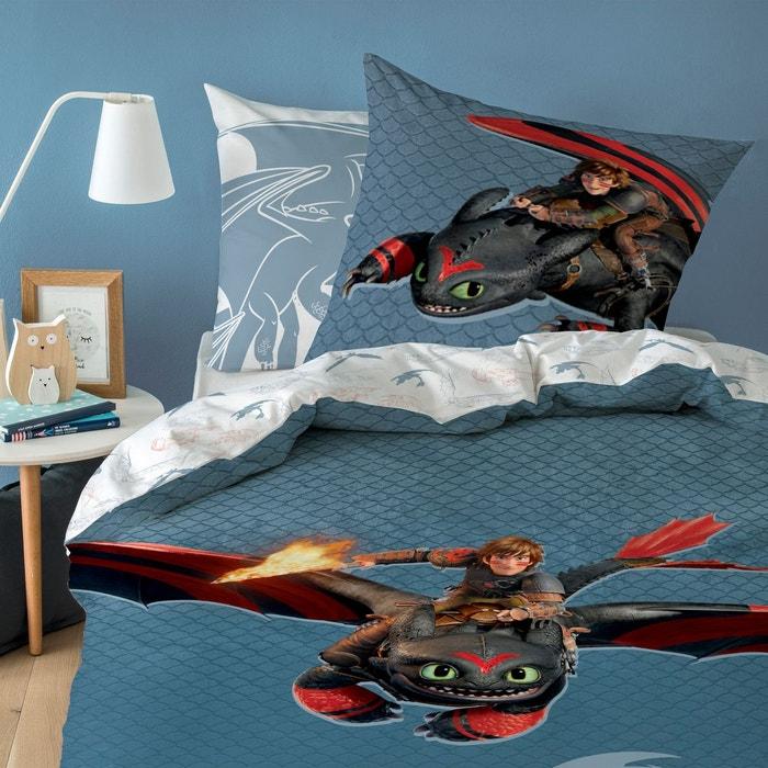 parure housse de couette pur coton dragons bleu dragons. Black Bedroom Furniture Sets. Home Design Ideas