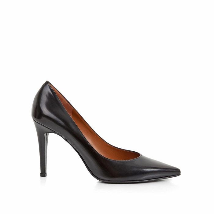 Escarpins cuir talon aiguille delicia   noir Heyraud   La Redoute