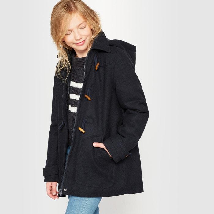 Image Duffle-coat à capuche 57% de laine 10-16 ans R essentiel