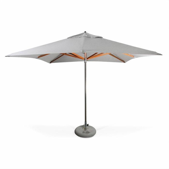 parasol tr s haut de gamme carr seapoint 3x3m gris clair chin inox et bois ouverture. Black Bedroom Furniture Sets. Home Design Ideas