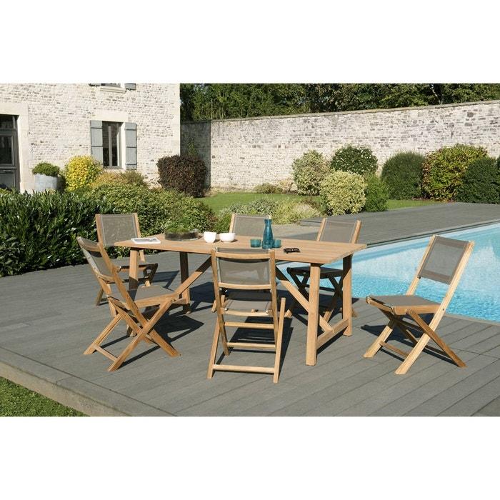Salon de jardin exotique pieds tréteaux bois de teck table de jardin  180x90cm + 6 chaises pliantes BERGEN