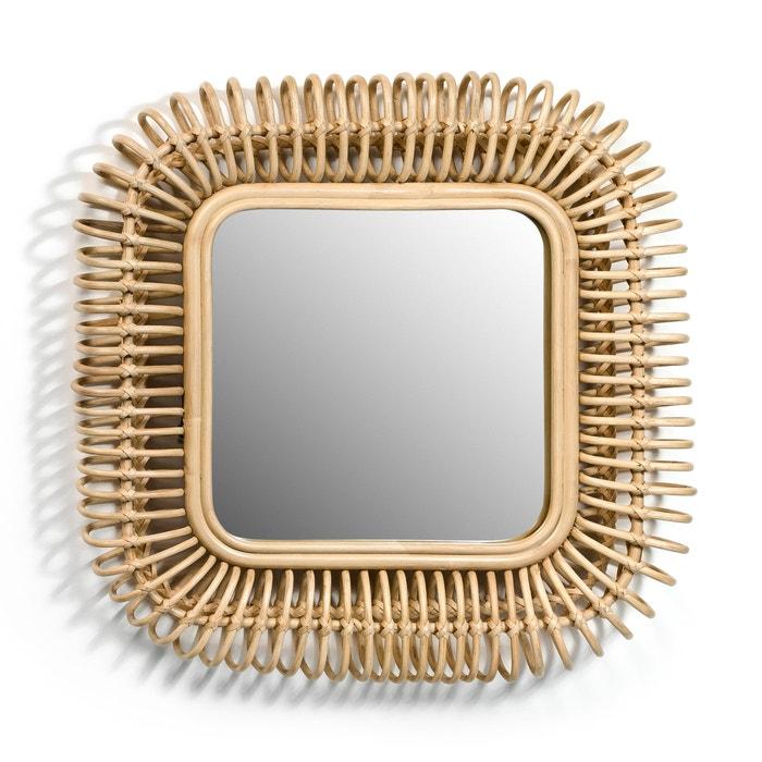 Espejo de mimbre cuadrado an 55 x al 55 cm tarsile natural am pm la redoute - Espejos de mimbre ...